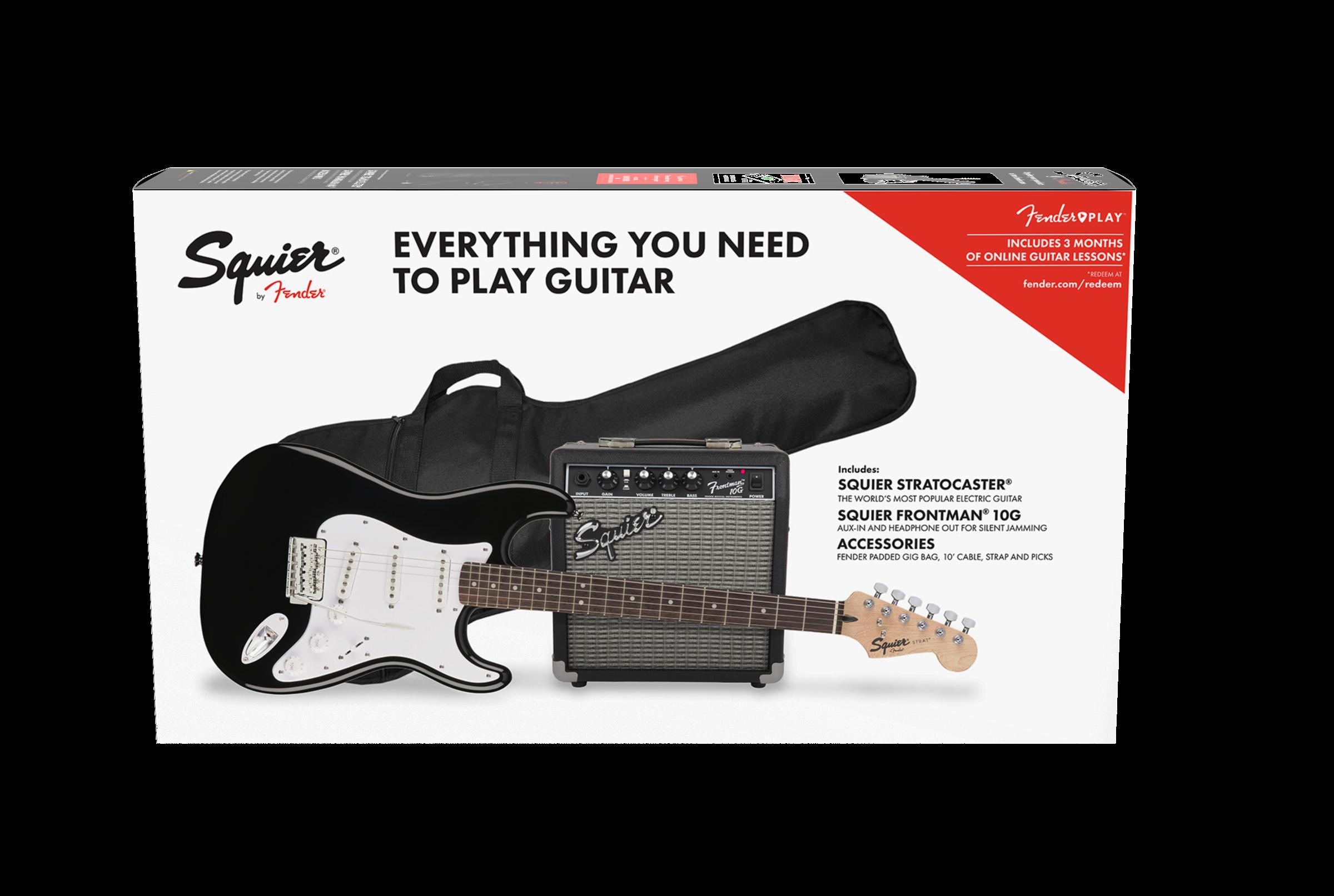 Squier Strat Pack w/ 10w Amp Black