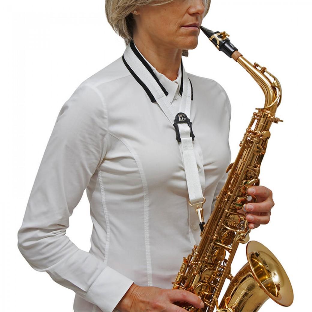 BG alto saxophone comfort strap (white/black/gold) S18MSH