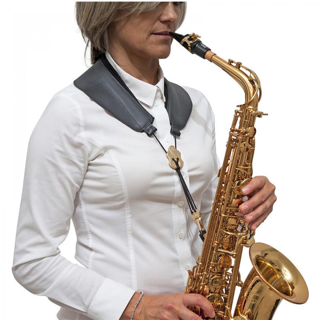 BG padded weight dispersal leather saxophone strap (black/gold) S70JMSH