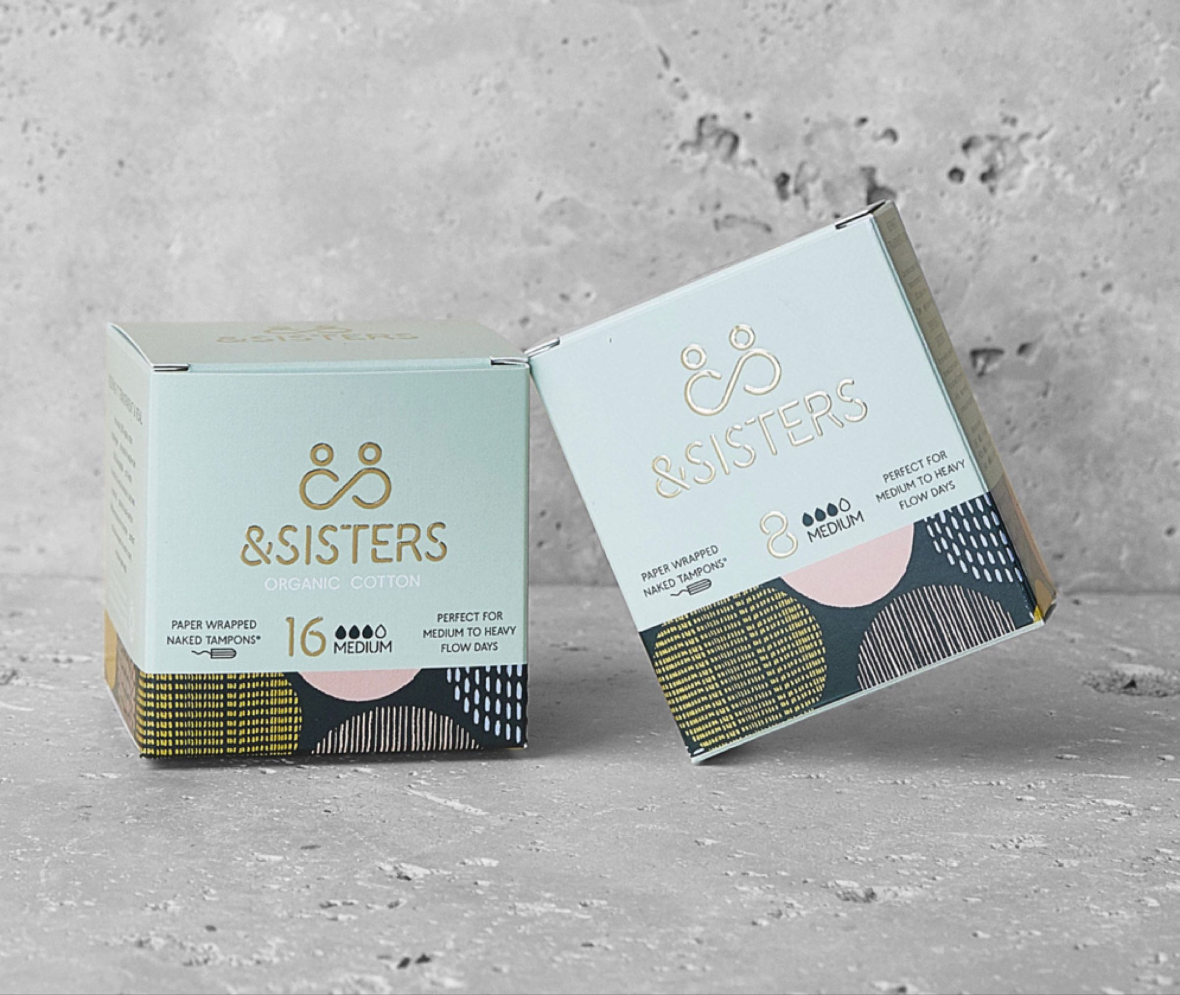 &Sisters Organic Cotton Paper Wrapped Naked Tampons Medium Pack of 16