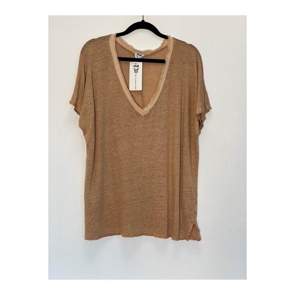 Stajl - T-shirt Raw linne camel
