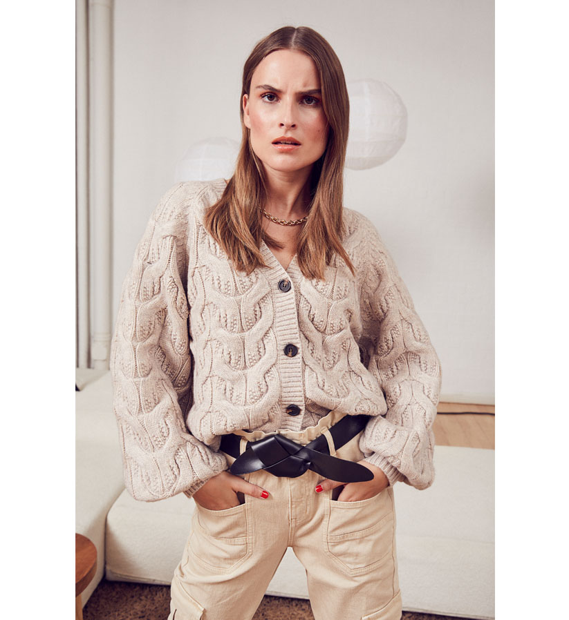 Co´couture - Jenesse Cable Cardigan Bone
