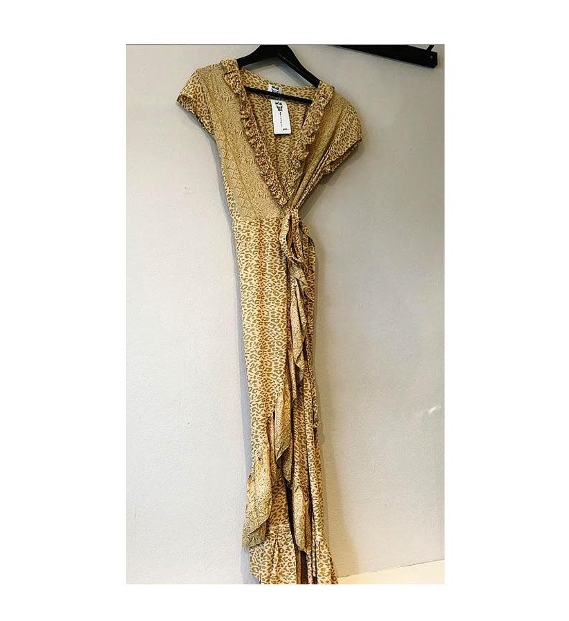 Stajl – Long wrap dress frill Leo kaki