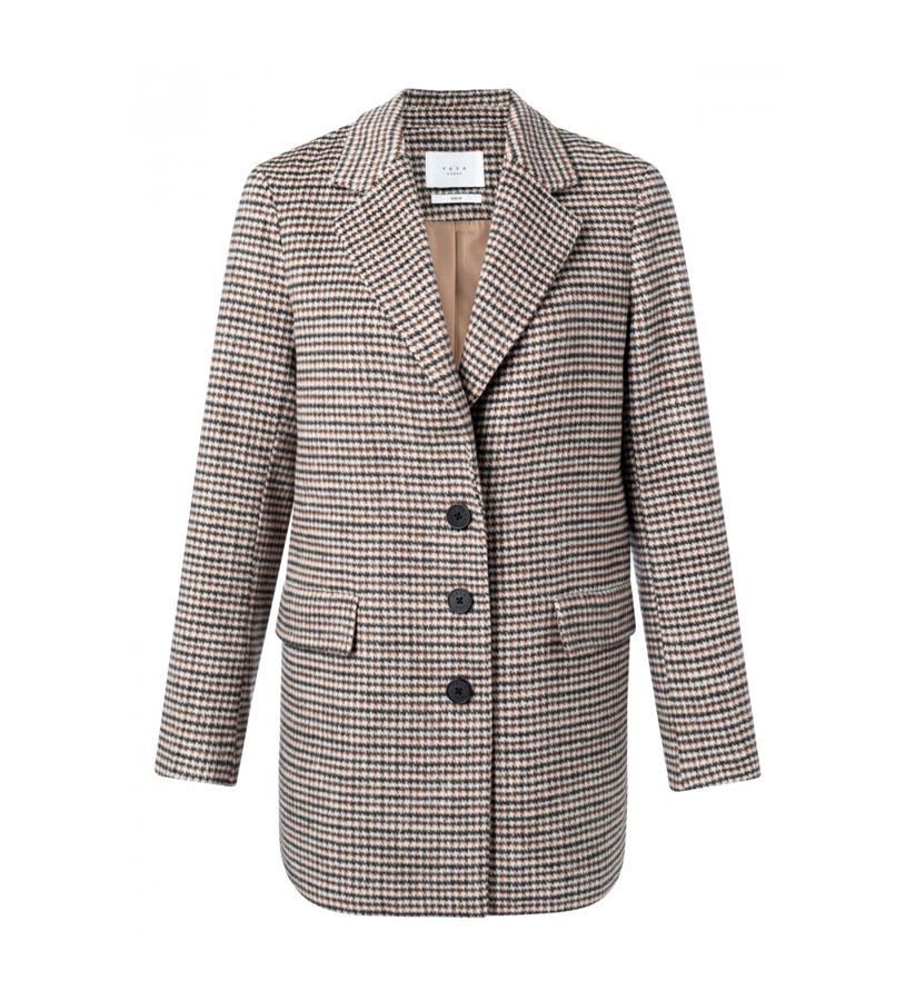 YAYA - Soft wool blend blazer jacket with checks