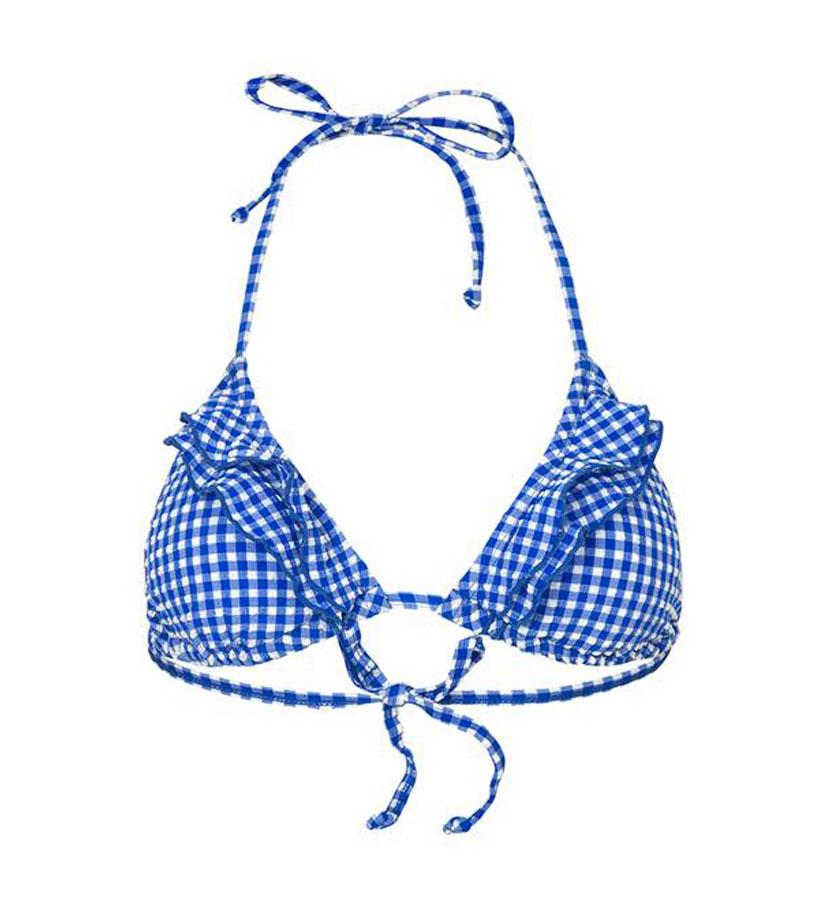 Beck Söndergaard - Check 2 frill bikini top forever blue