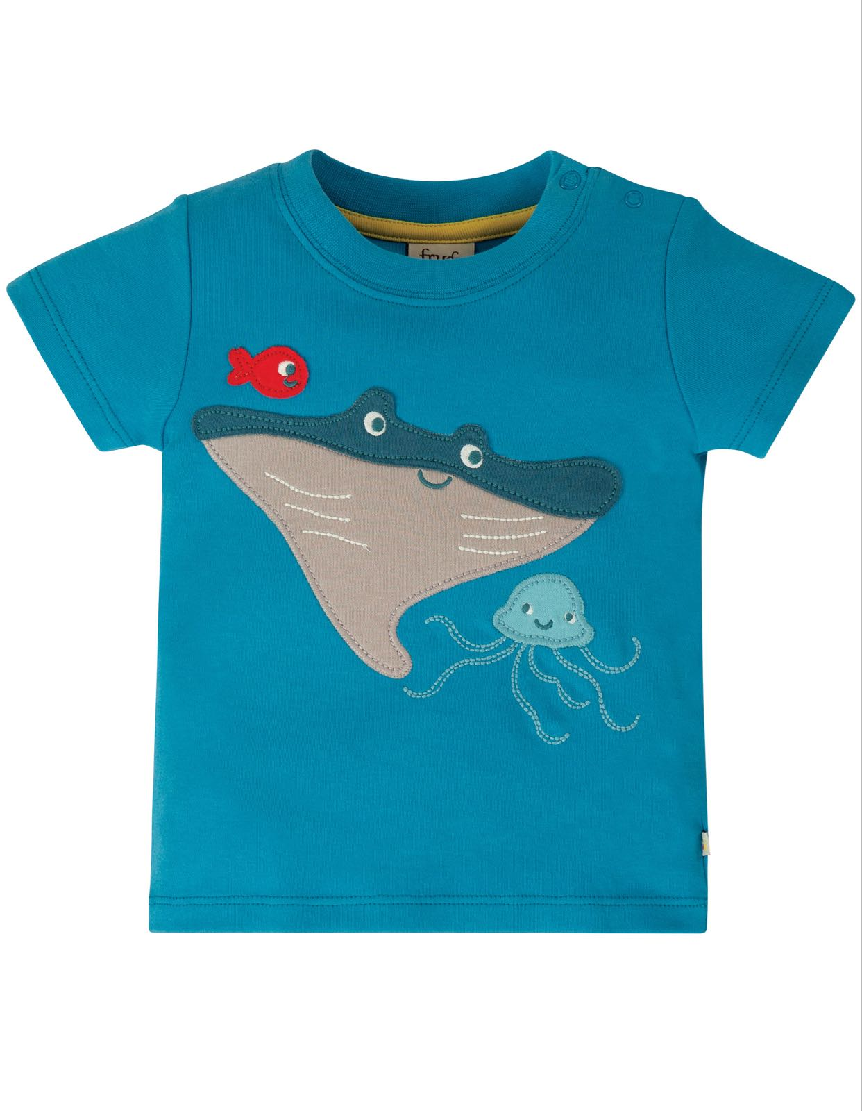 Frugi Little Creature Appliqué Top Motosu Blue Mantaray