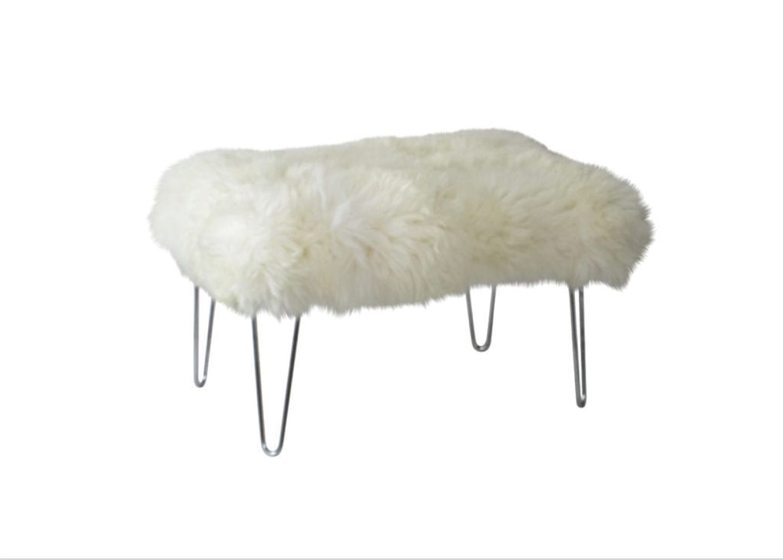 NEW!!! RRP £530 Baa stool Betty with Ivory removable Sheepskin and Chrome hairpin legs 85cm x 65cm x 50cm high, Betty looks fab with a tray on top or used as a table or is perfect in a bay window to use as a window seat.