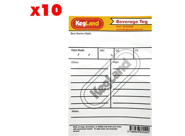 Beverage Tag x 10 Merkelapper for fat, gjæringstanker m.m