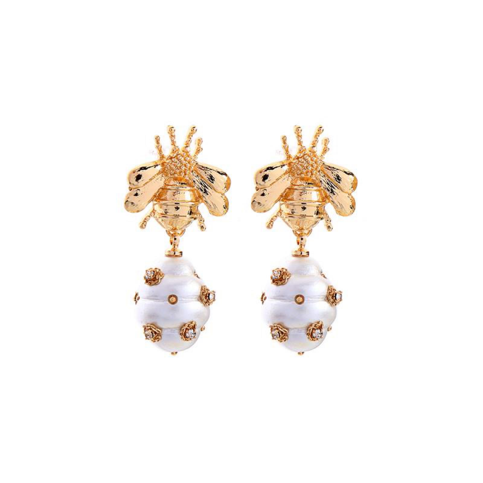 Last True Angel Embellished Bee Pearl Earrings with Honey Hive