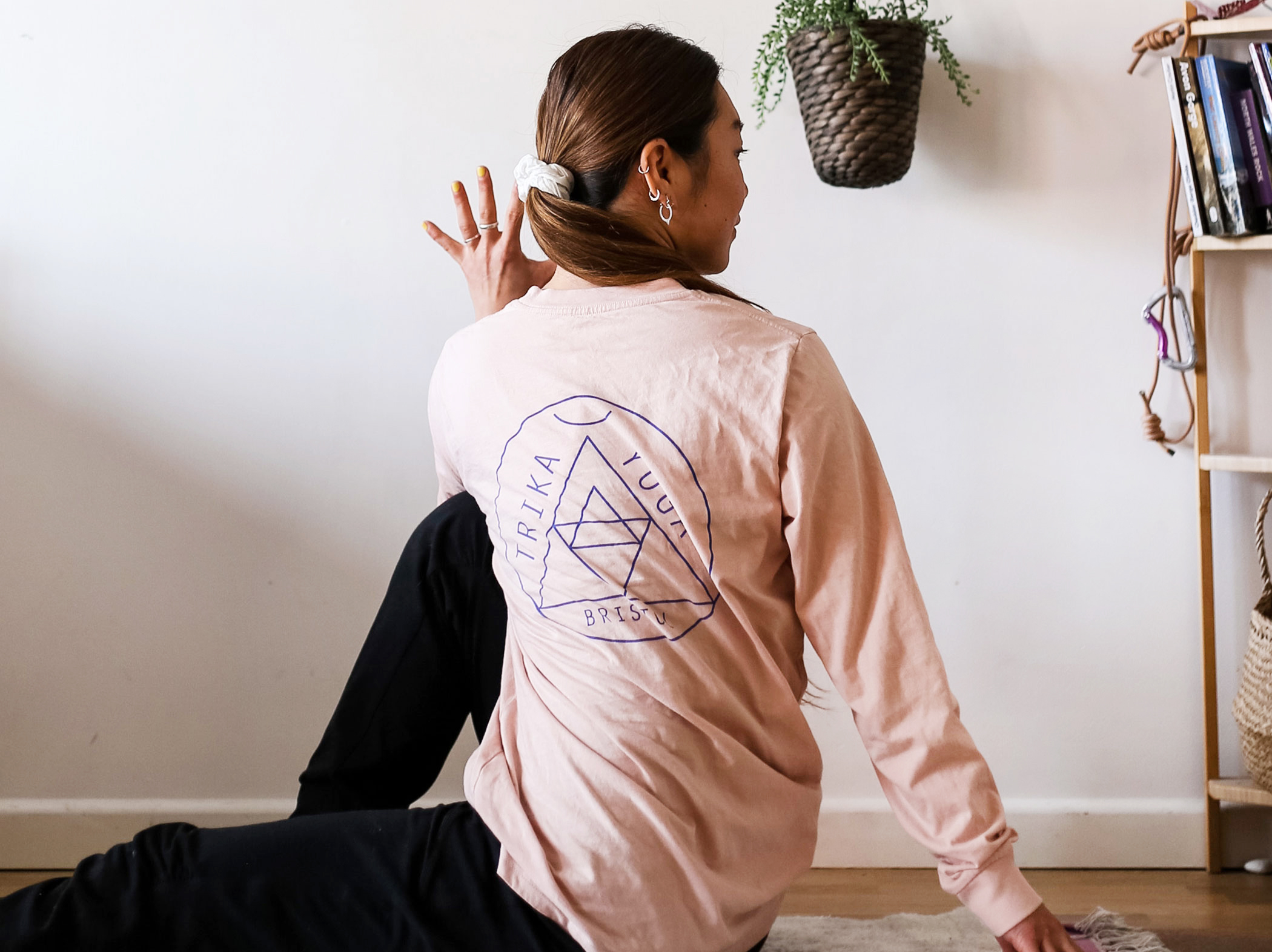 Pink with Royal Blue Print Long Sleeve Logo Tee