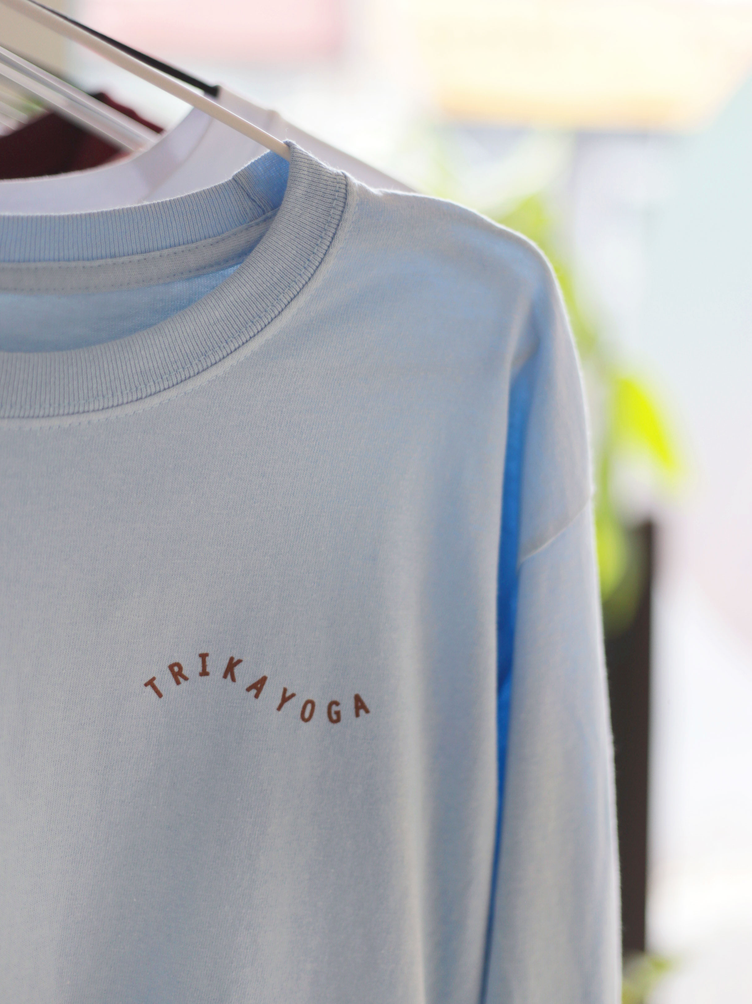 Sky Blue w Cinnamon Print Long Sleeve Logo Tee