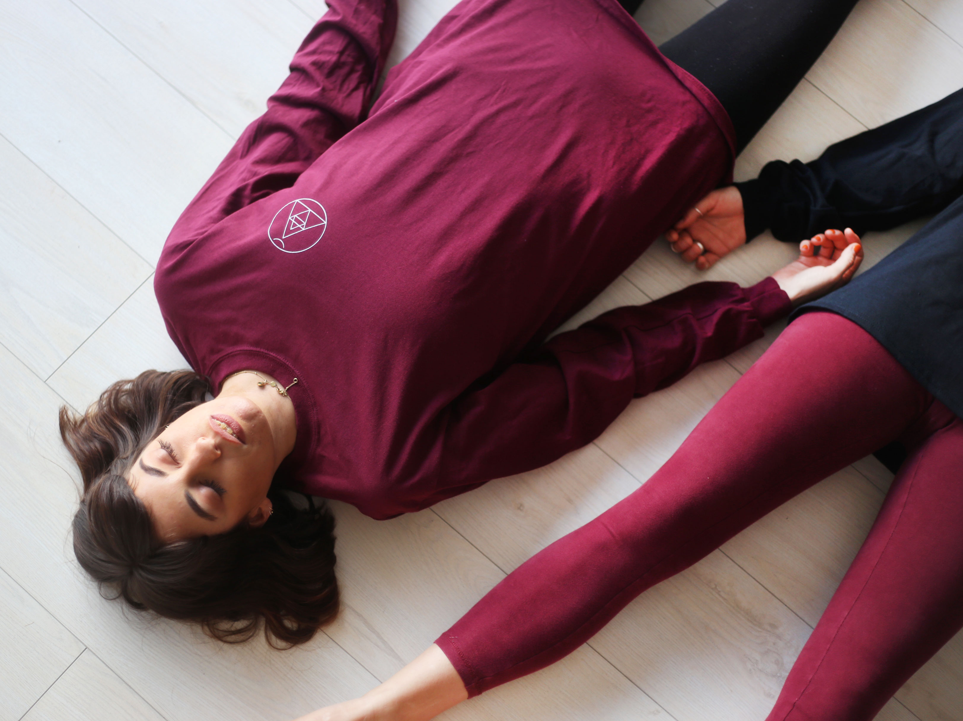 Burgundy Long Sleeve Logo Tee