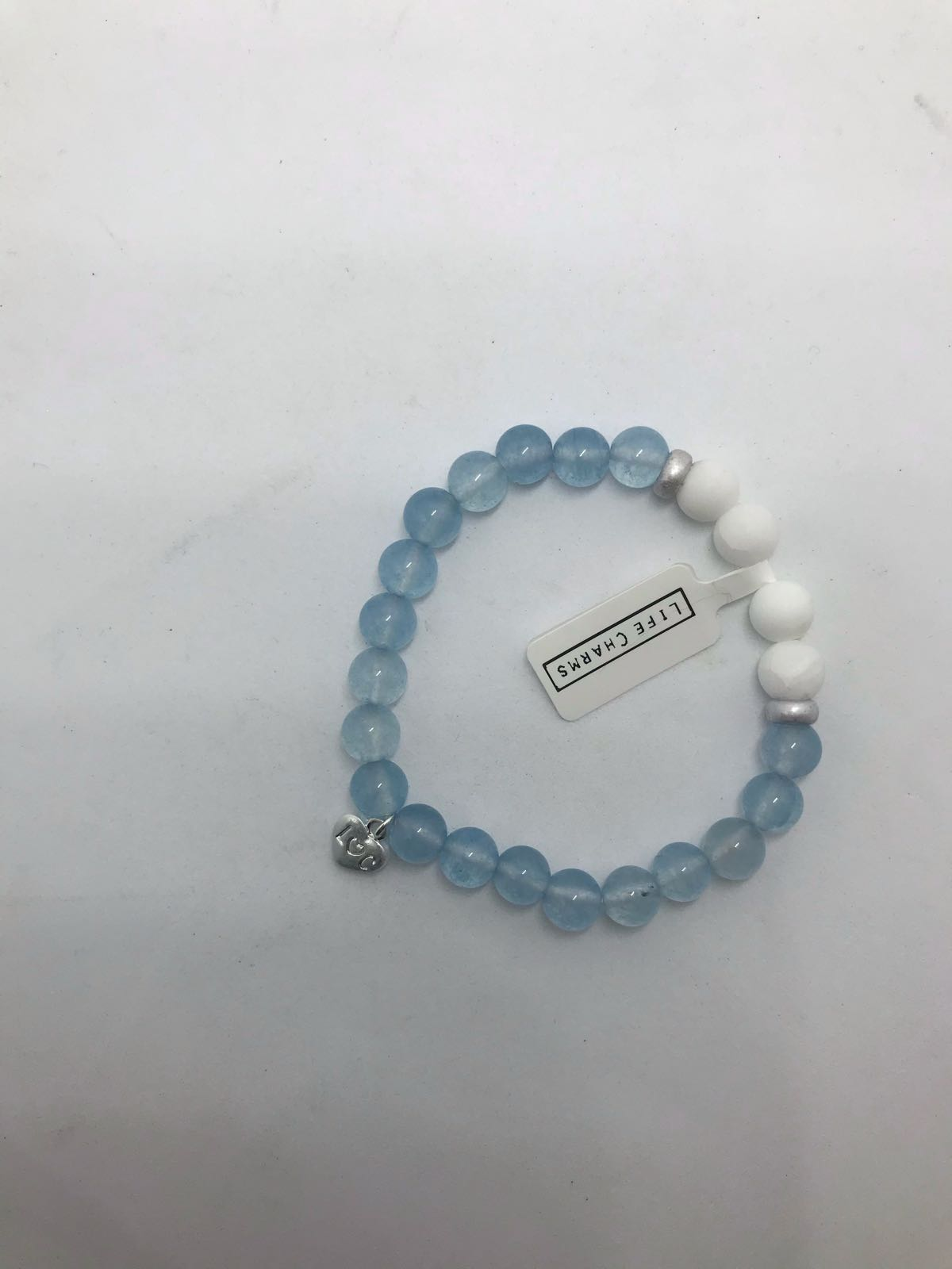 Life Charms aqua and white bracelet