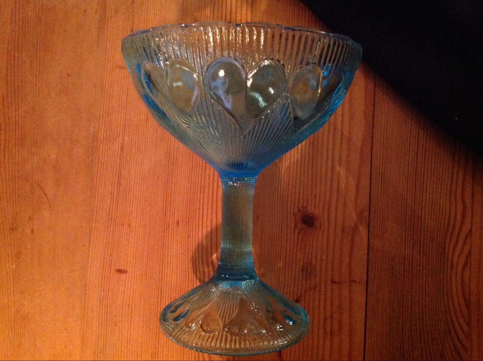 Skål blå hjärtan (second hand, vintage, retro)