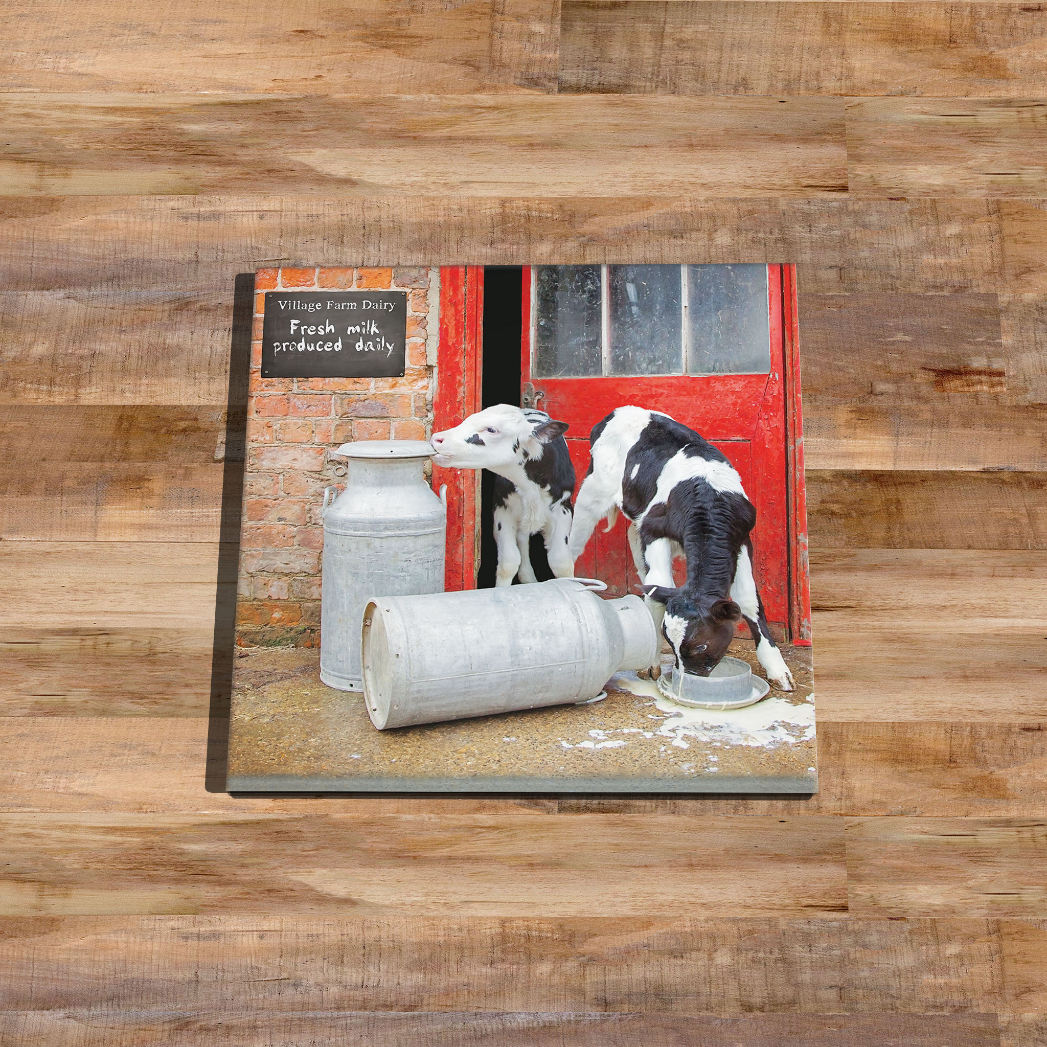Double Trouble Calves at the Dairy Glass Drinks Coaster - Kitchy & Co