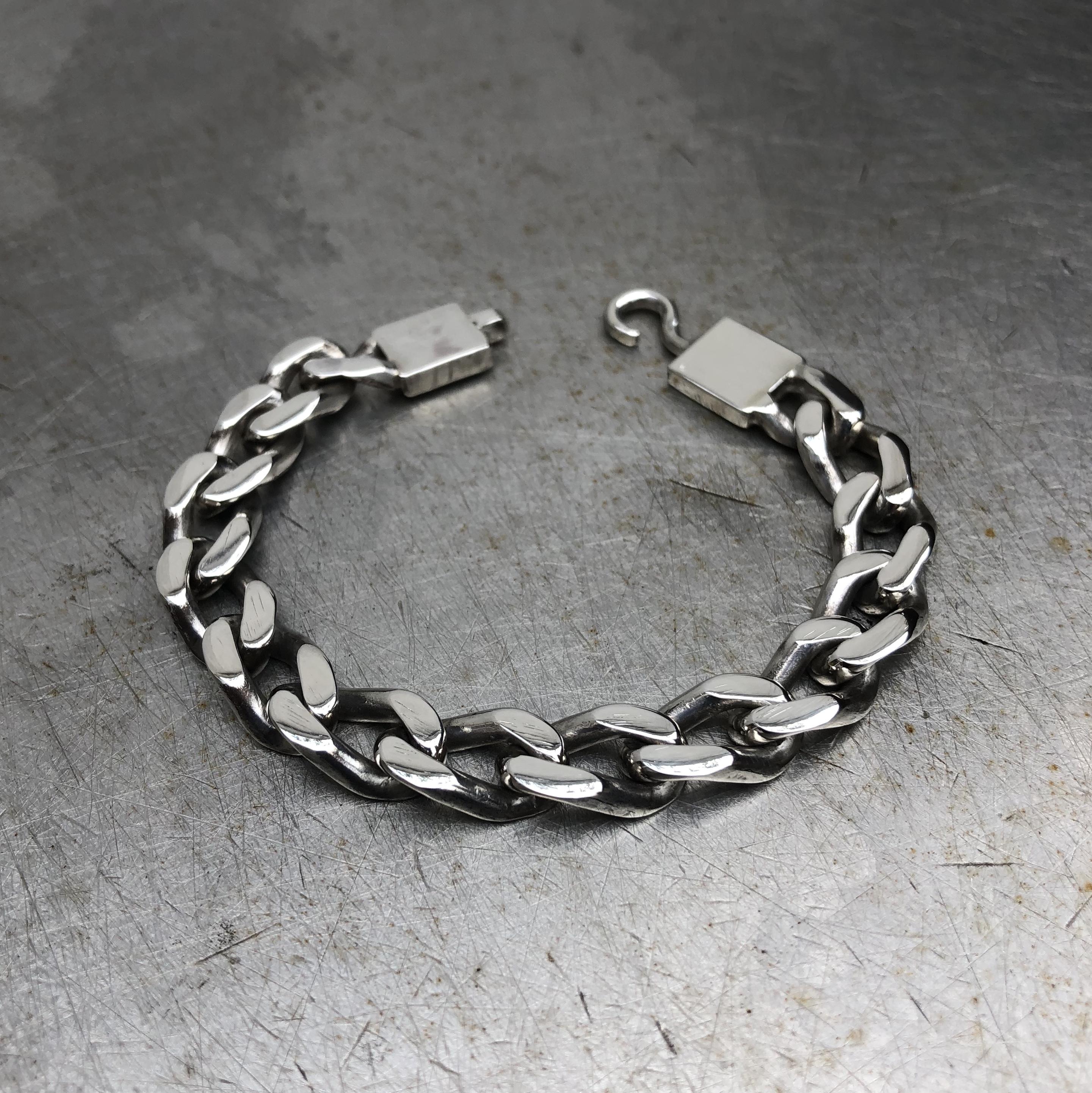 925 SILVER CHUNKY DIAMOND CUT CURB BRACELET CHAIN
