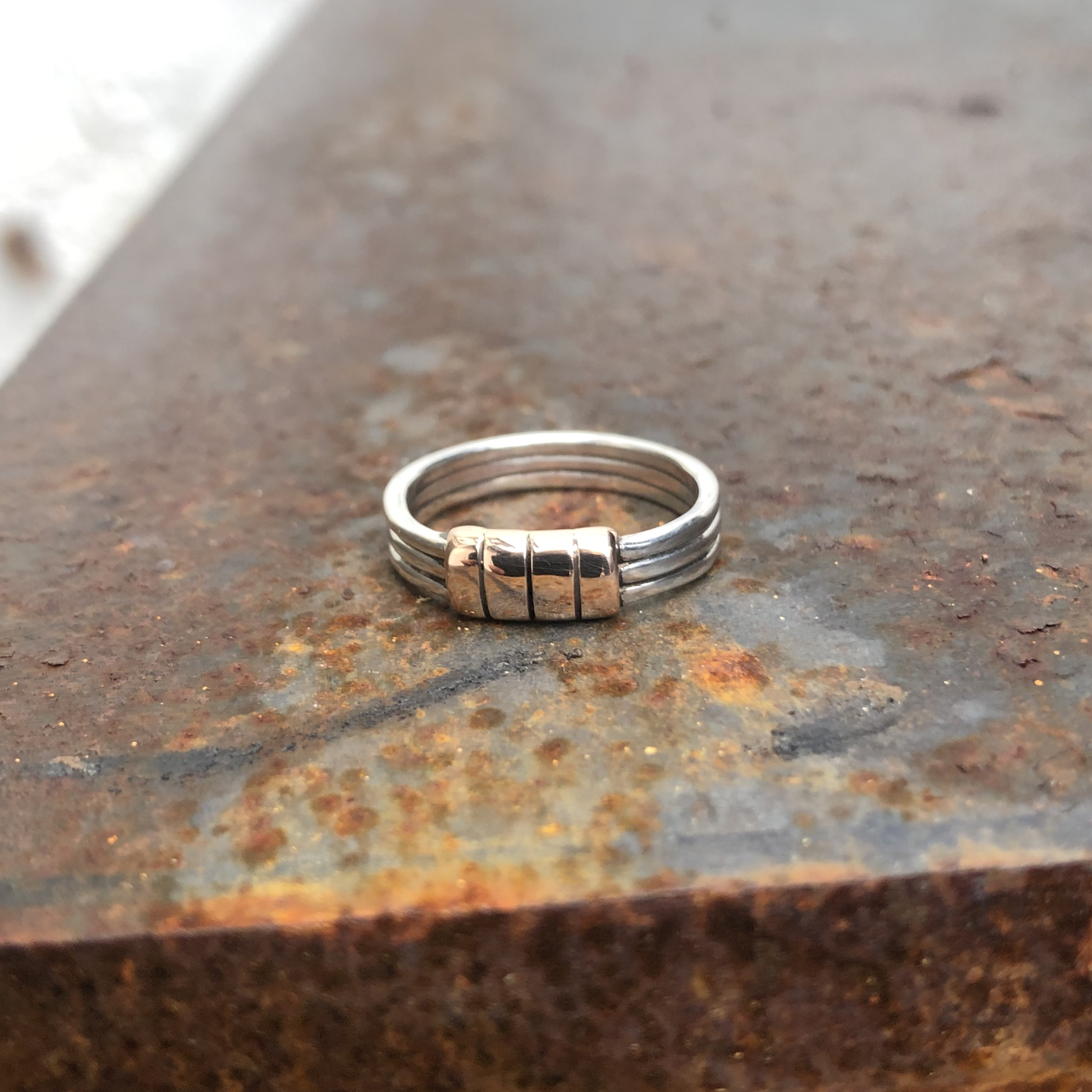 9CT ROSE GOLD AND 925 SILVER RING