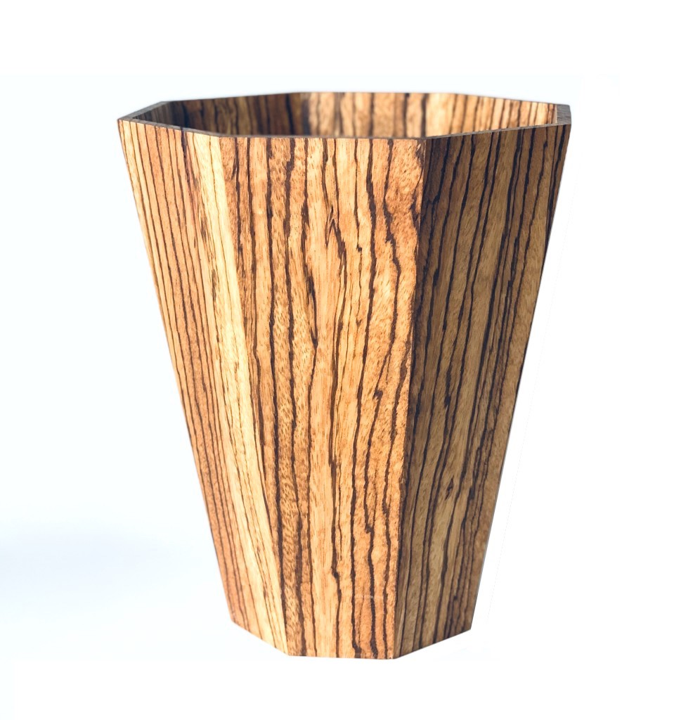 Zebrano Wood Bin