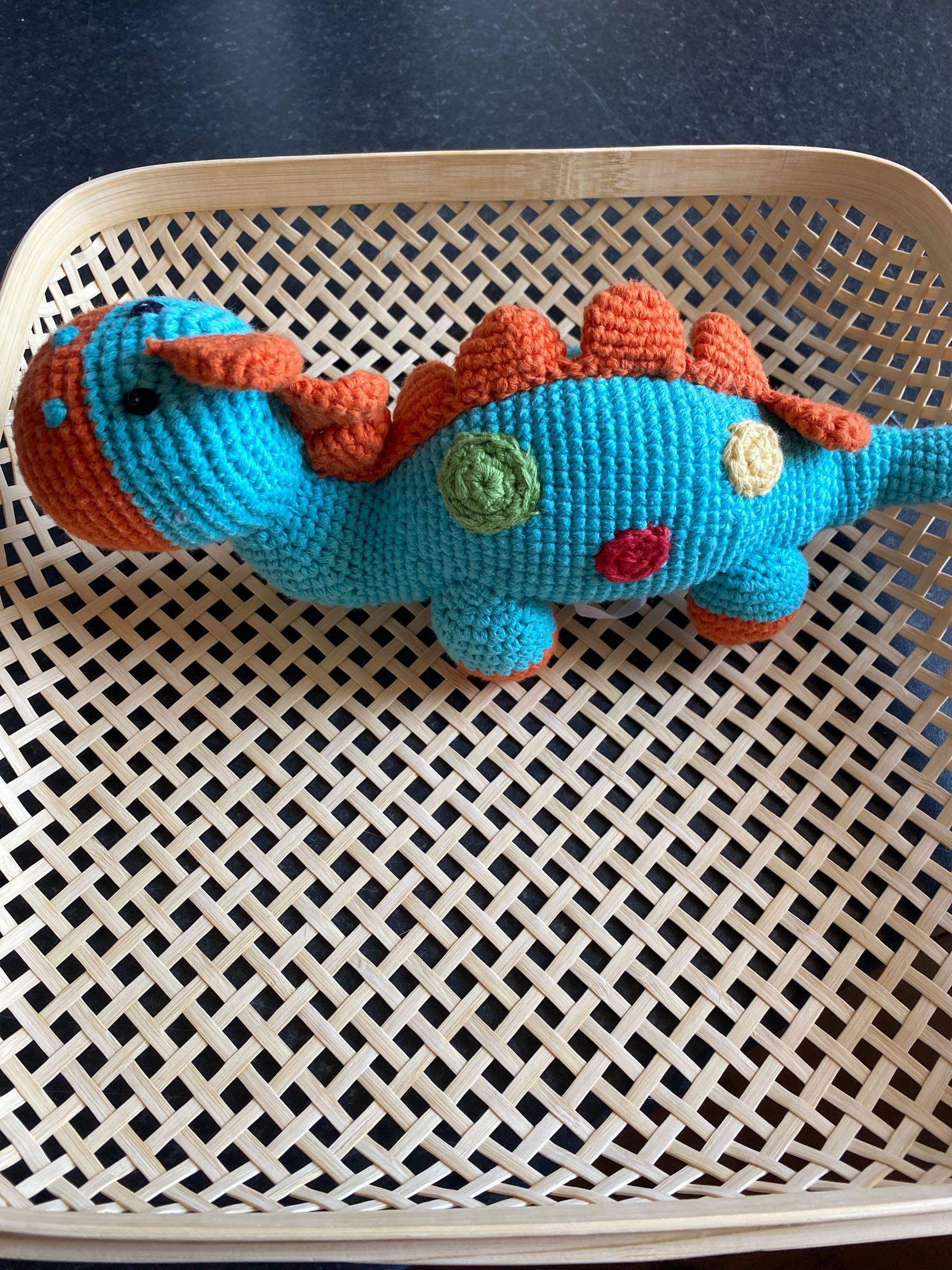 Pebble - Crochet Steggi Dinosaur rattle Turquoise