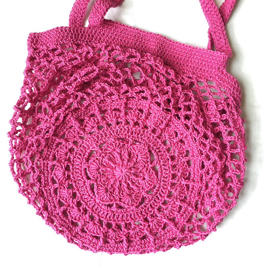 Hand Crochet Cotton Market Bag Deep Pink