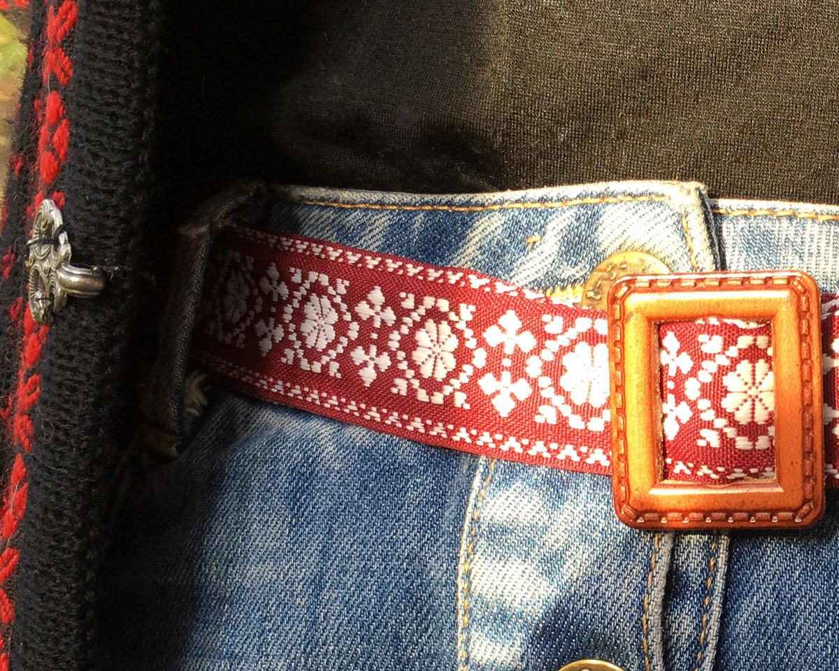 Handmade Fabric Belt - Baltic Sunlight Med Reversible Dk Red & White