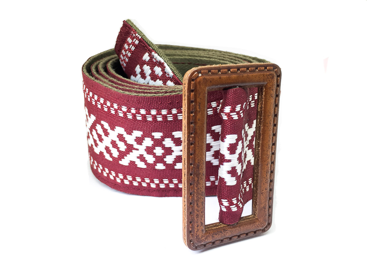 Handmade Fabric Belt - Baltic Wise Serpent Wide Dk Red