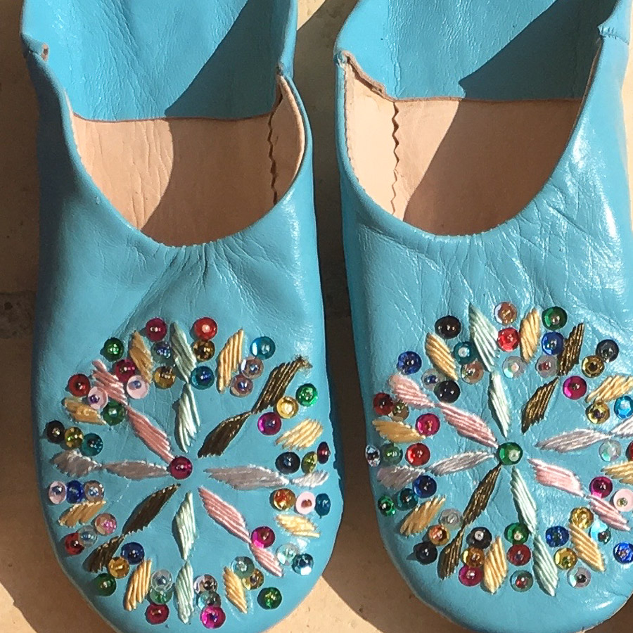 Babouche Slippers Embroidery & Sequins  - Aqua Blue Multi