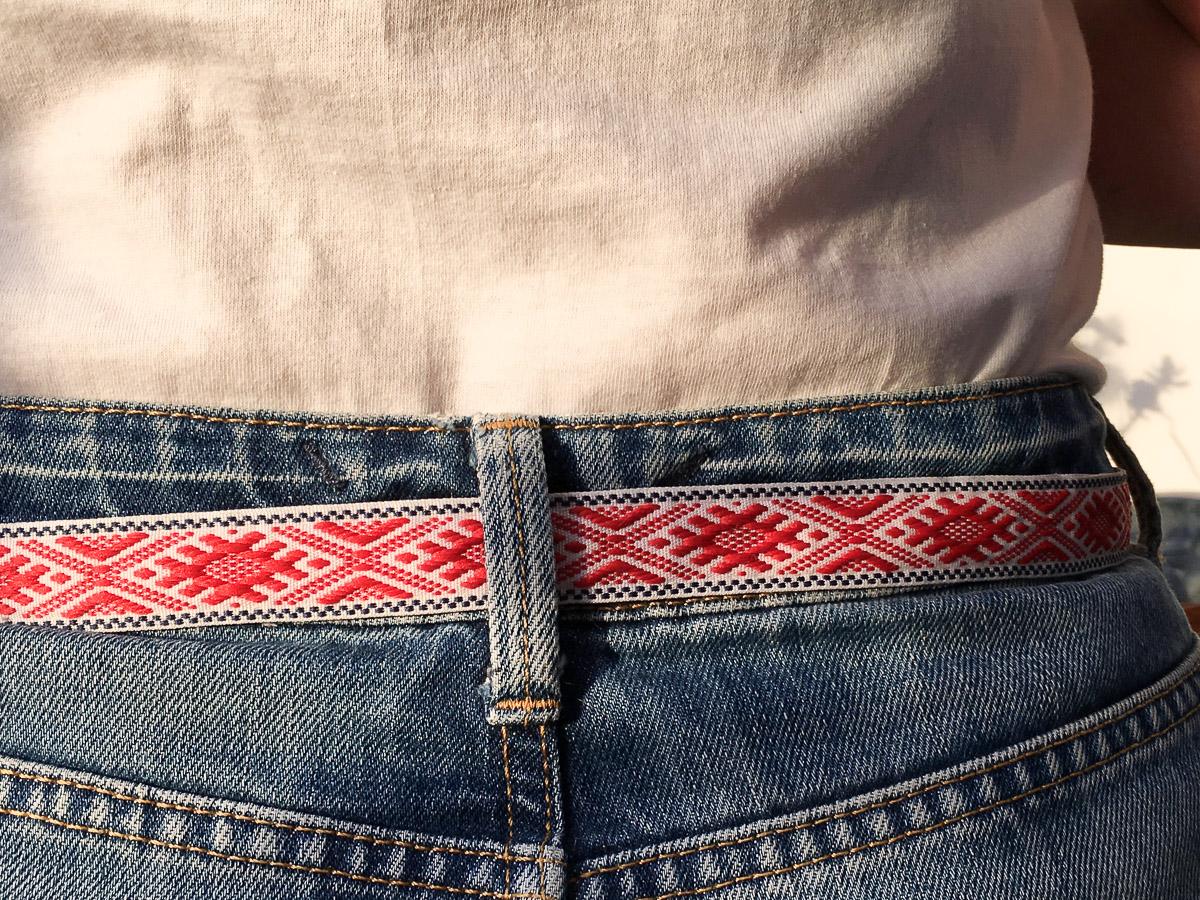 Handmade Fabric Belt - Baltic Fertile Field Narrow Red & White