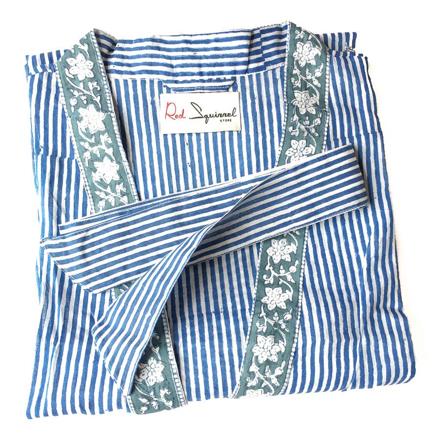 Block Print Kimono Robe Stripe Indigo Blue & White