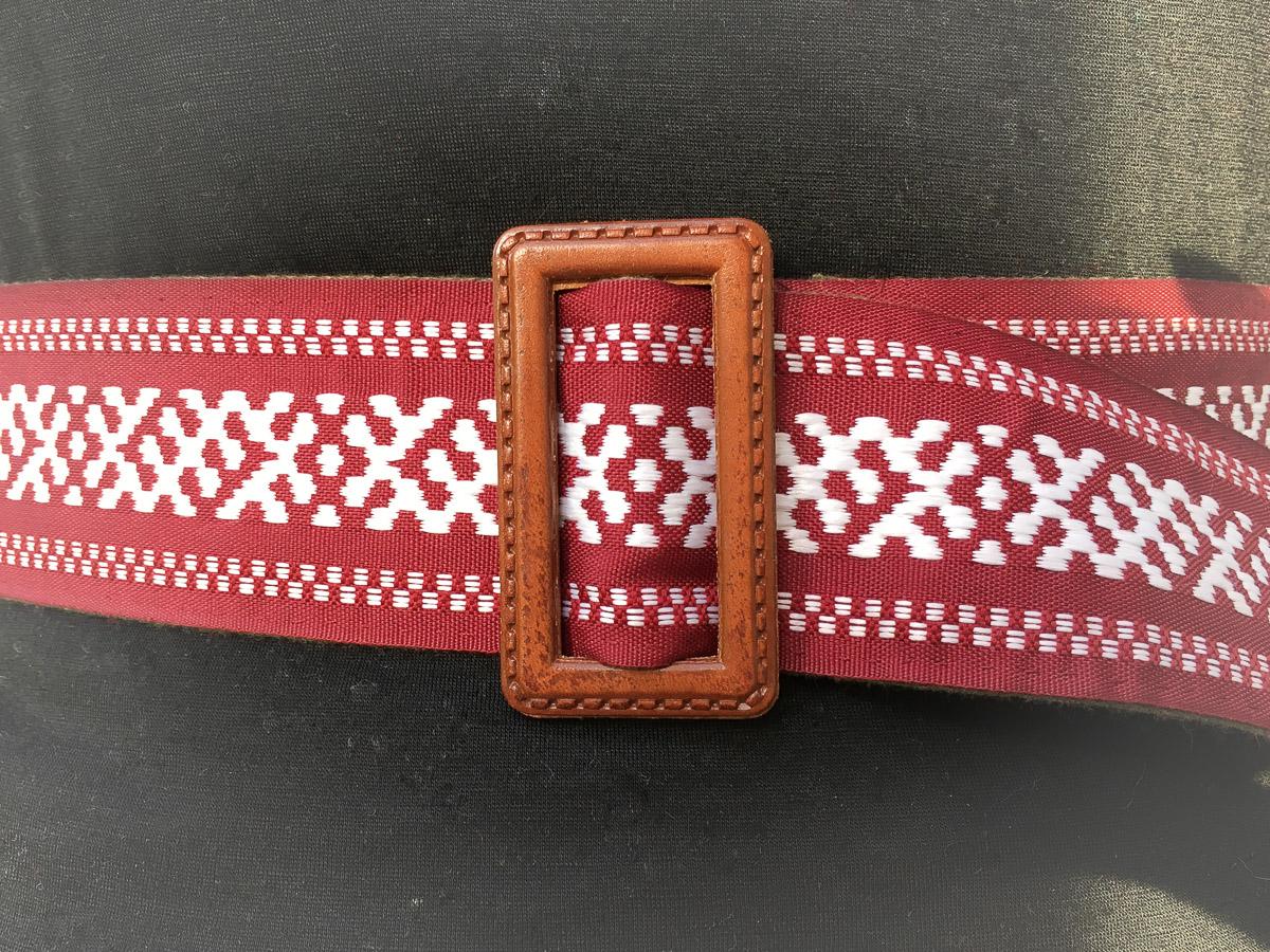 Handmade Fabric Belt - Baltic Wise Serpent Wide Dk Red