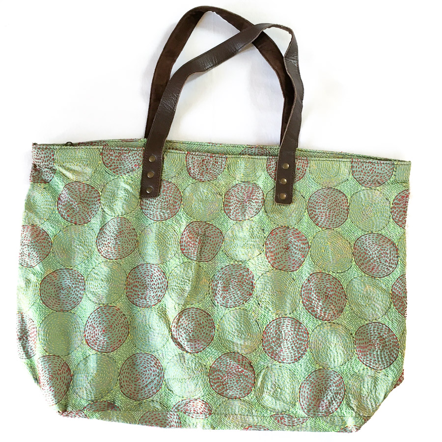 Vintage Silk Day Bag with leather handles - Pale Green