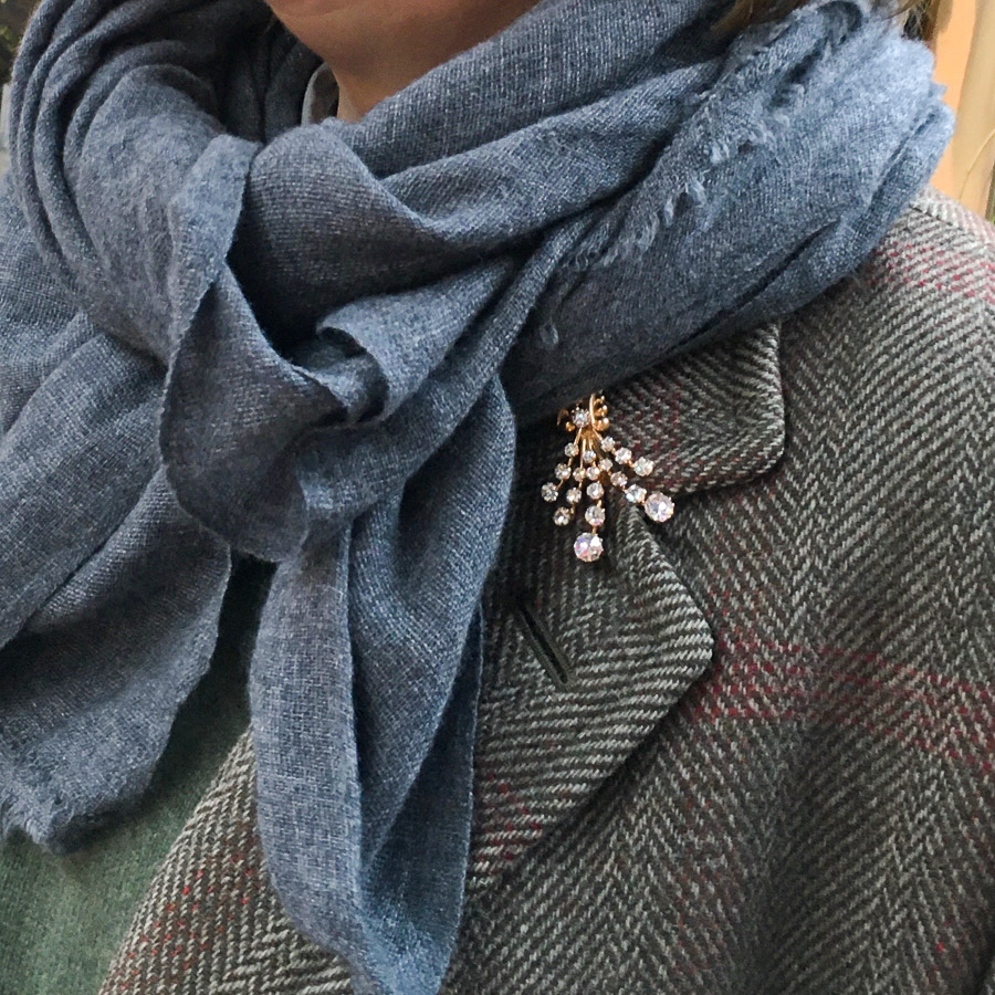 Merino Large Shawl Plain Weave Mid Grey