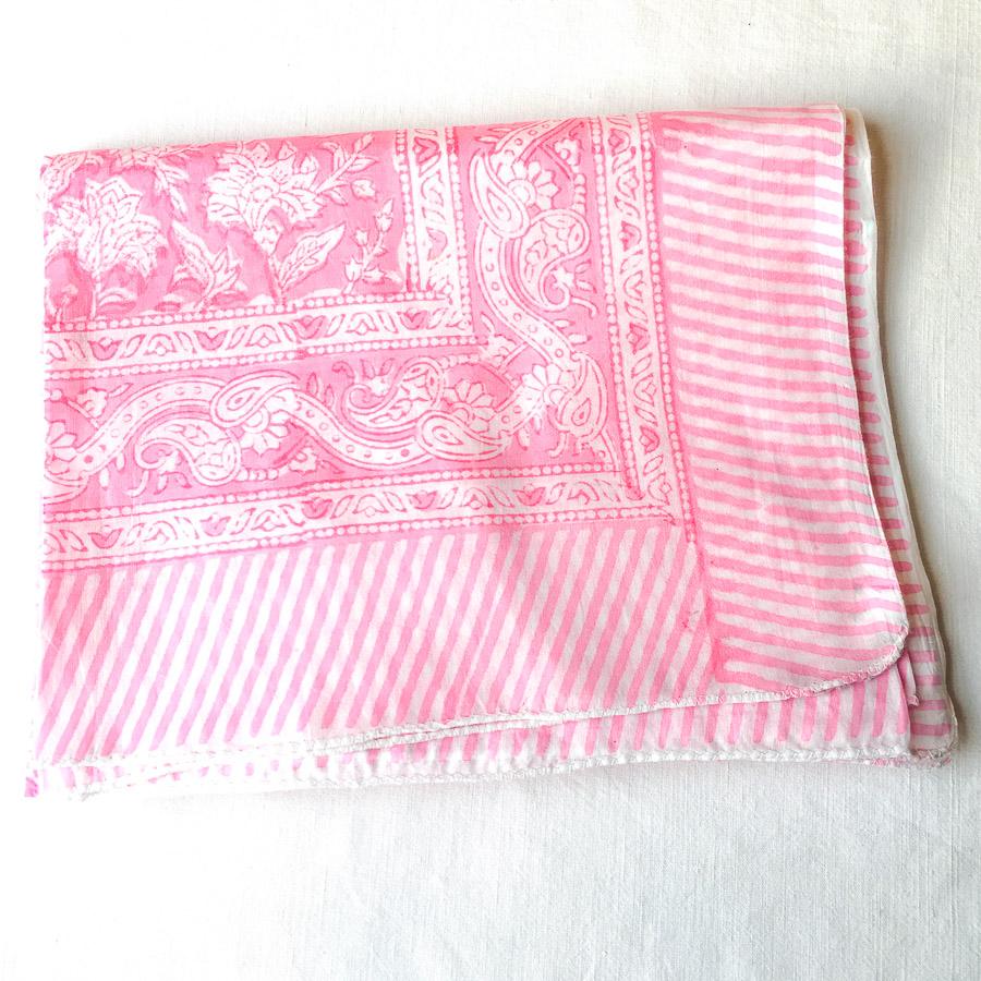Block Print Sarong Floral Sugar Pink