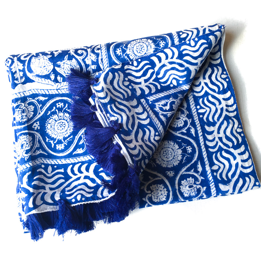 Block Print Tassel Sarong Lotus Indigo and White