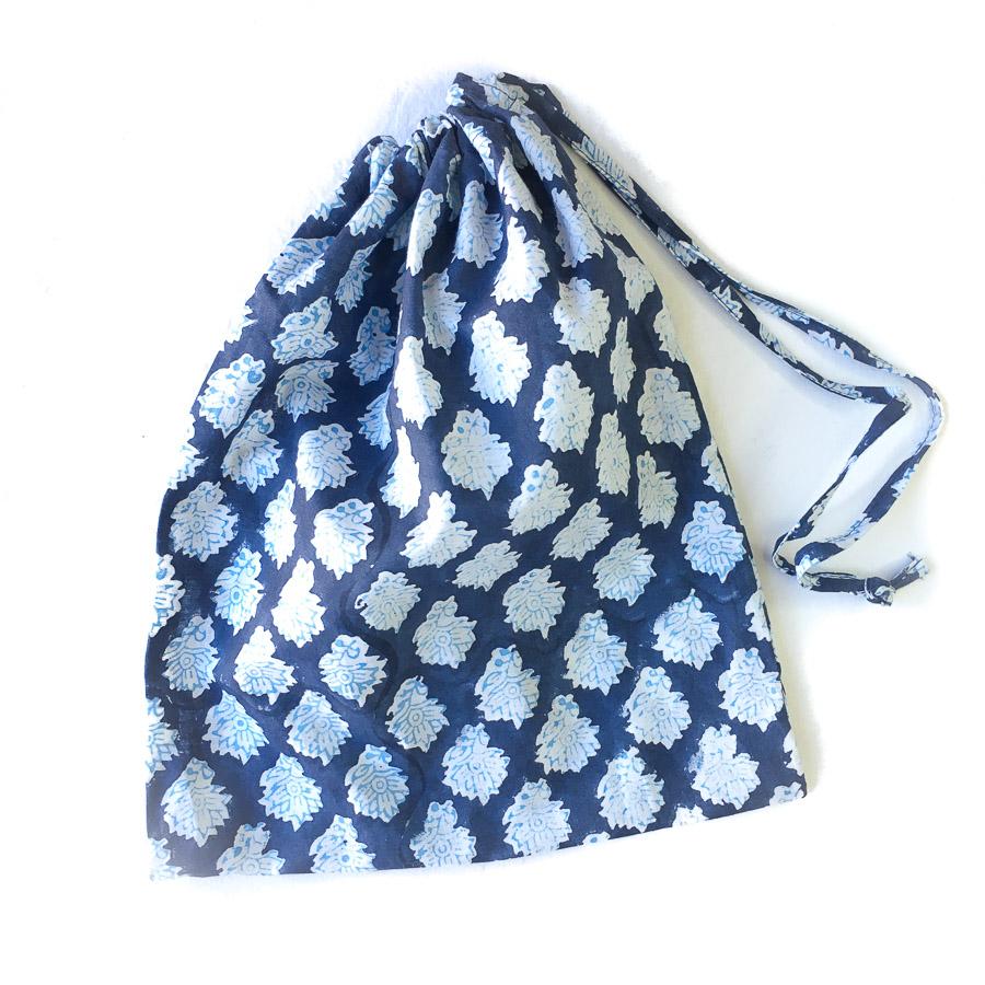 Block Print Pyjama Lounge Pants in Bag - Indigo Blue Motif