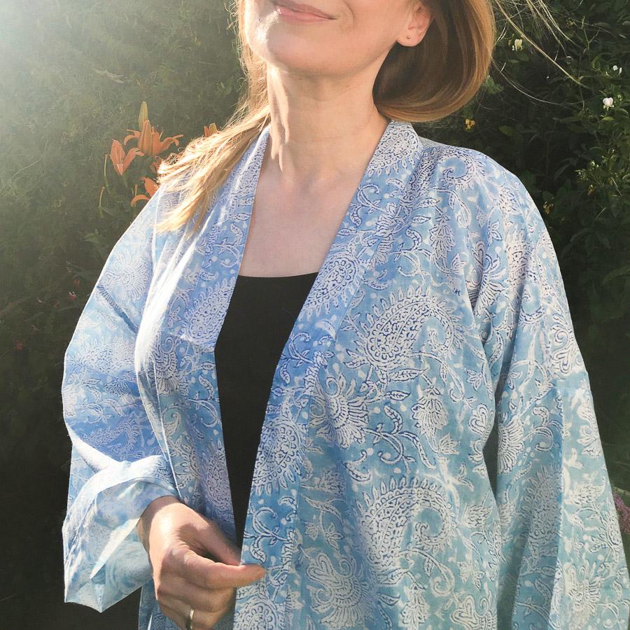 Big Yukata Kimono - Leaf Paisley Sky Blue