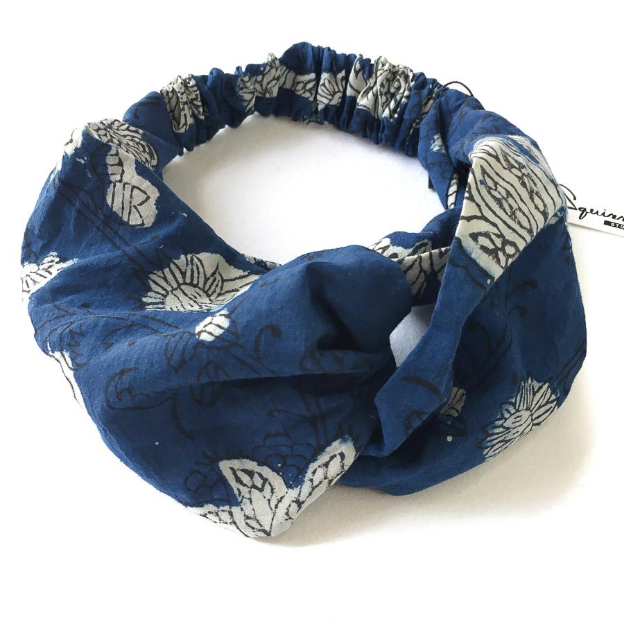 Turban Headband - Indigo Blue Black Floral