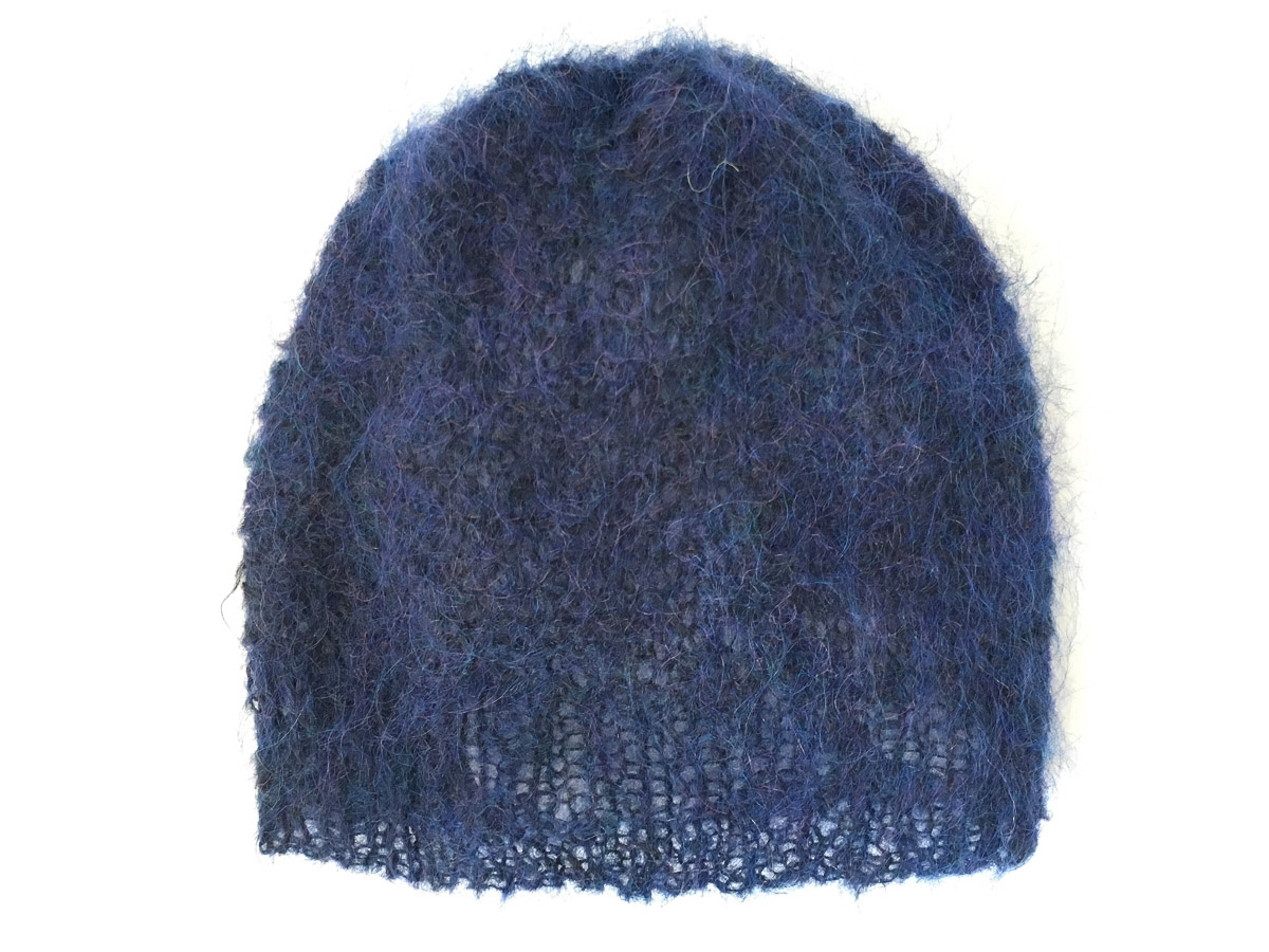 Handknit Mohair Cloud Hat Ink Blue