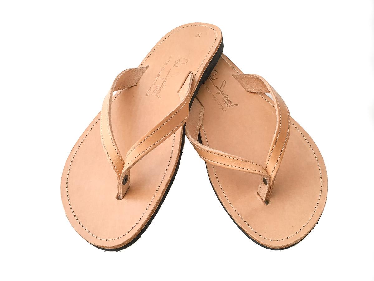 Classic Leather Flip-Flop Sandals Natural Tan