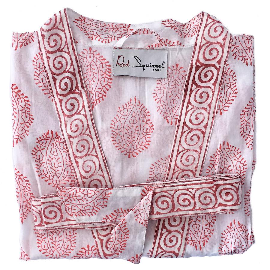 Kimono Robe Delicate Motif Red White