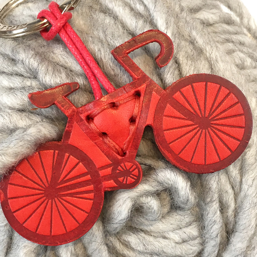 Bicycle Leather Keyring Red