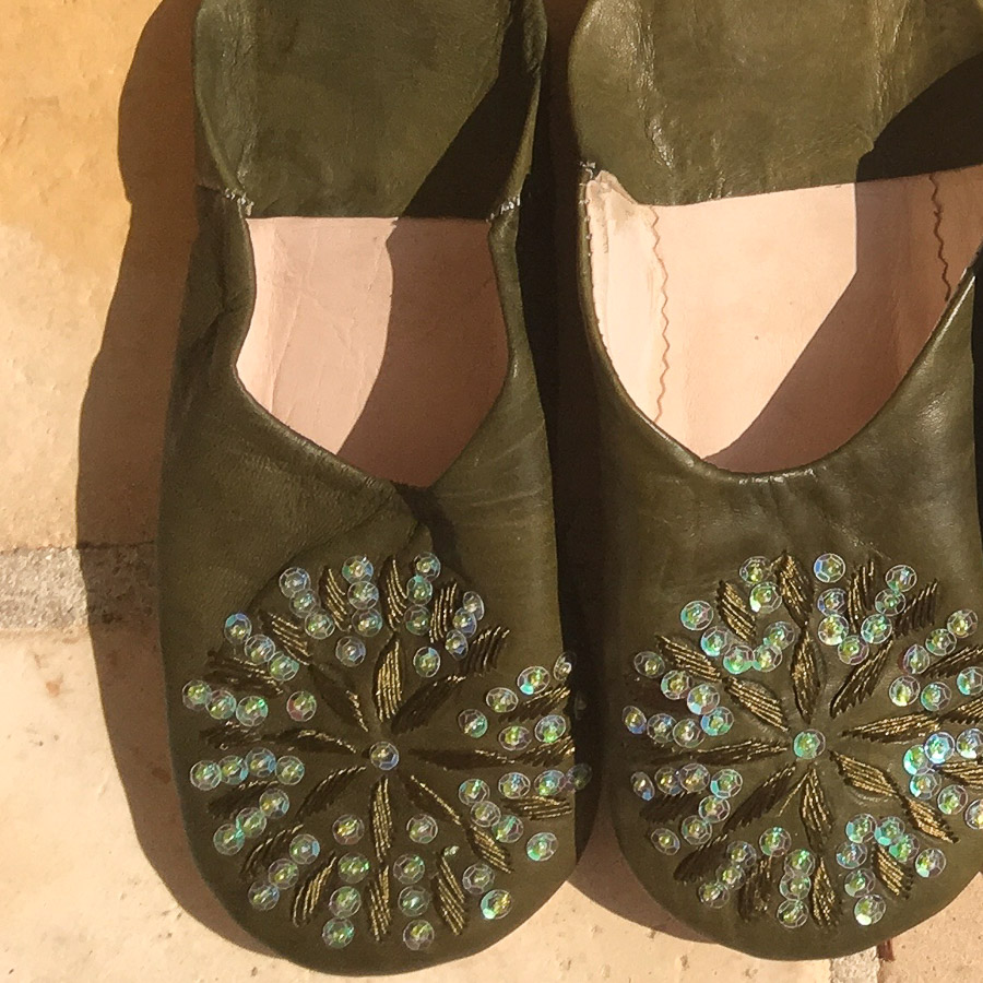 Babouche Slippers Embroidery & Sequins  - Olive and Green