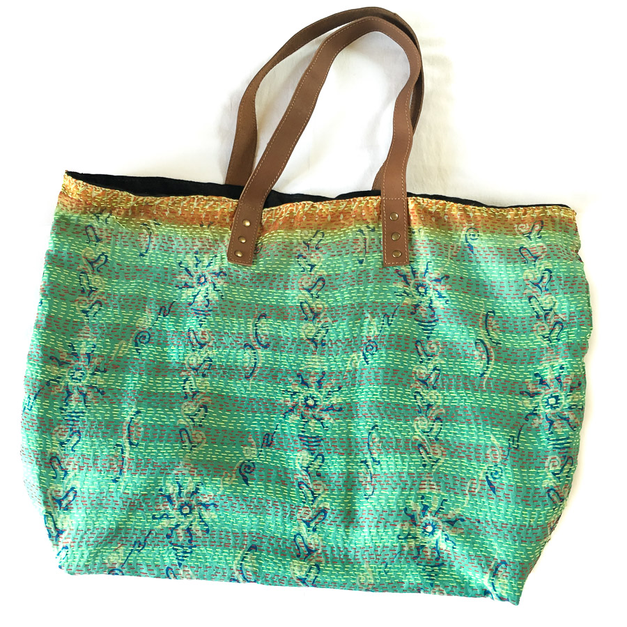 Vintage Silk Day Bag with leather handles - Green