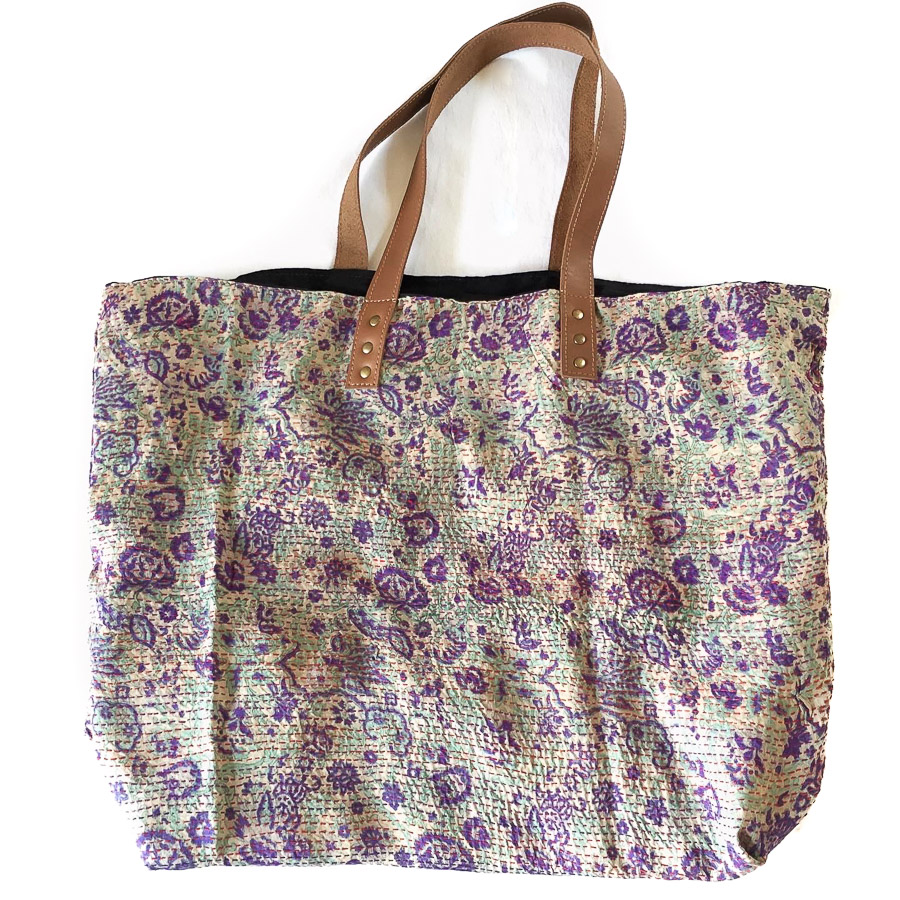 Vintage Silk Day Bag with leather handles - Mauve Green