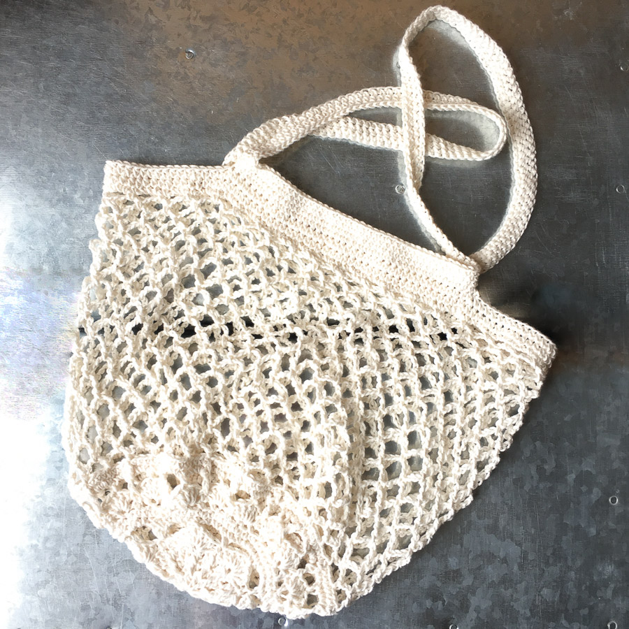 Hand Crochet Cotton Market Bag Cream