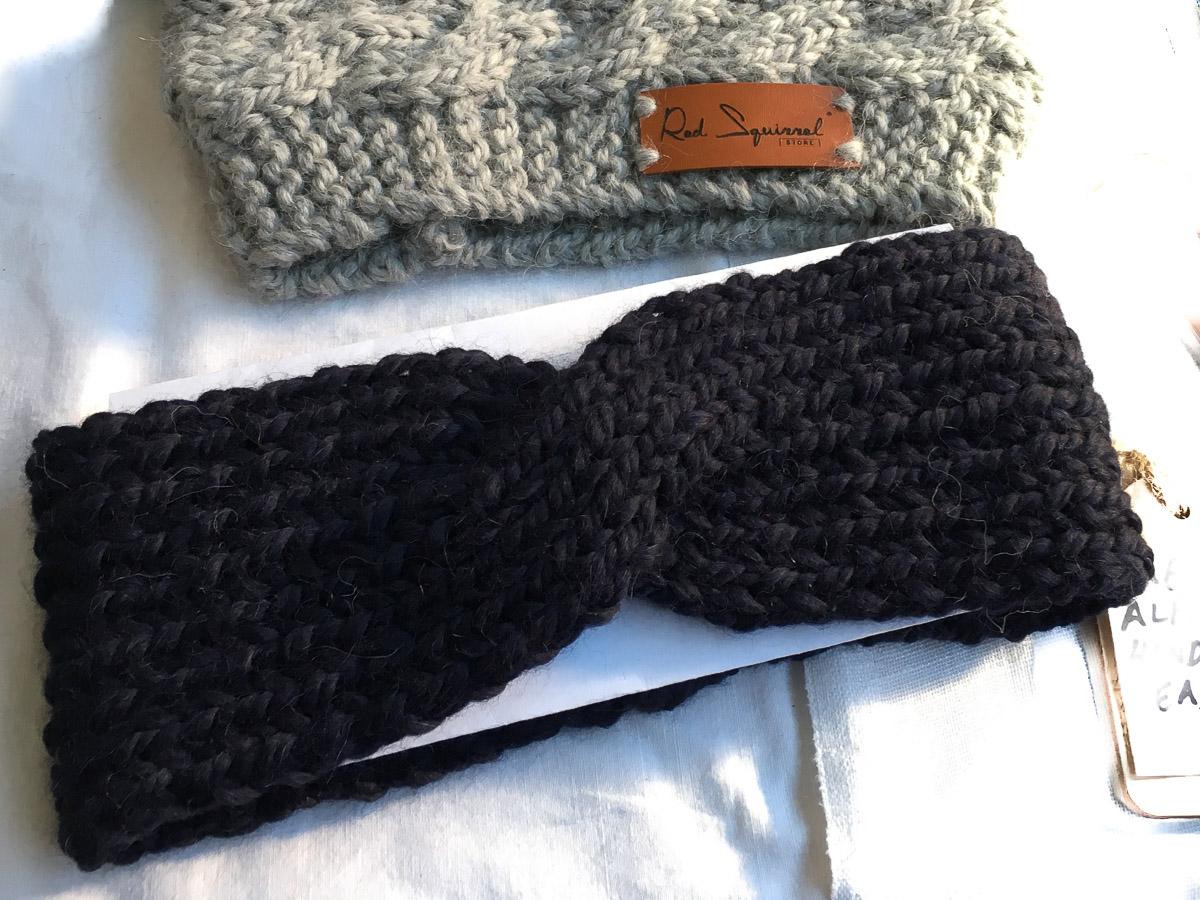 Handknit Baby Alpaca Bandeau Headband Black