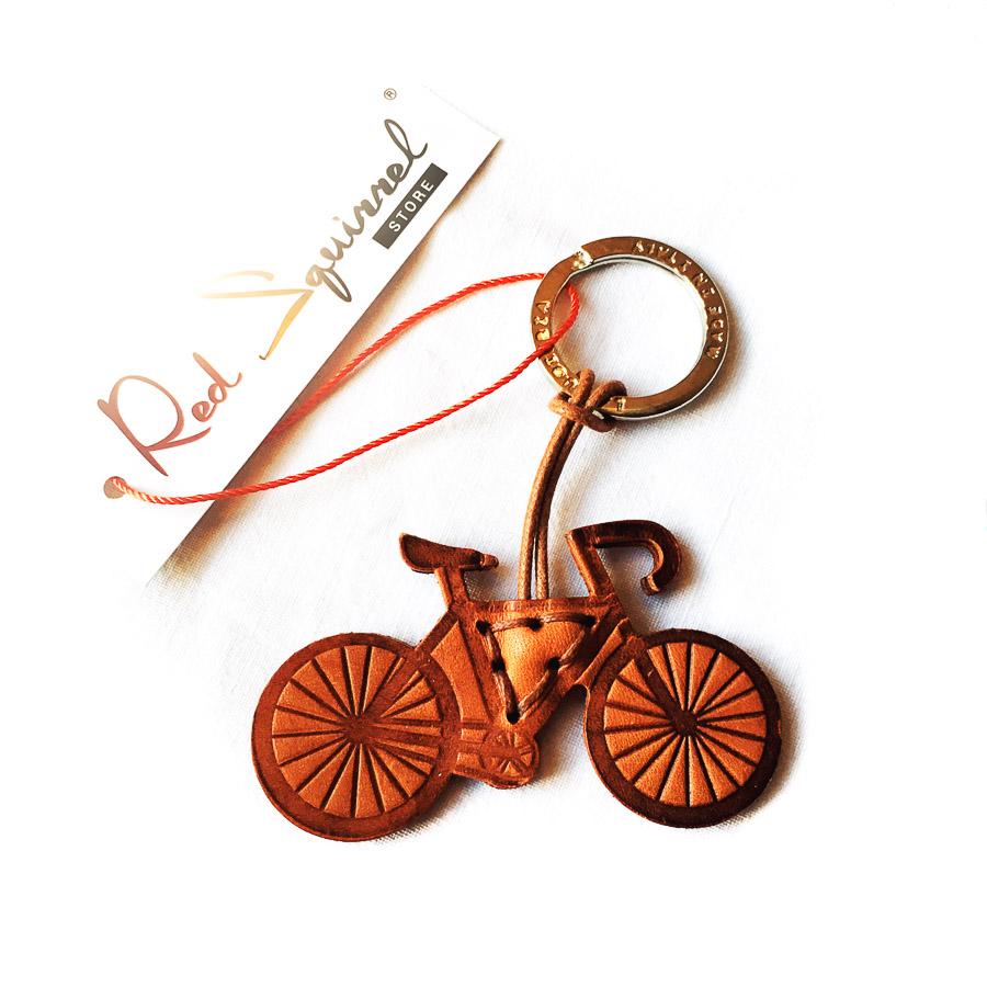 Bicycle Leather Keyring Tan