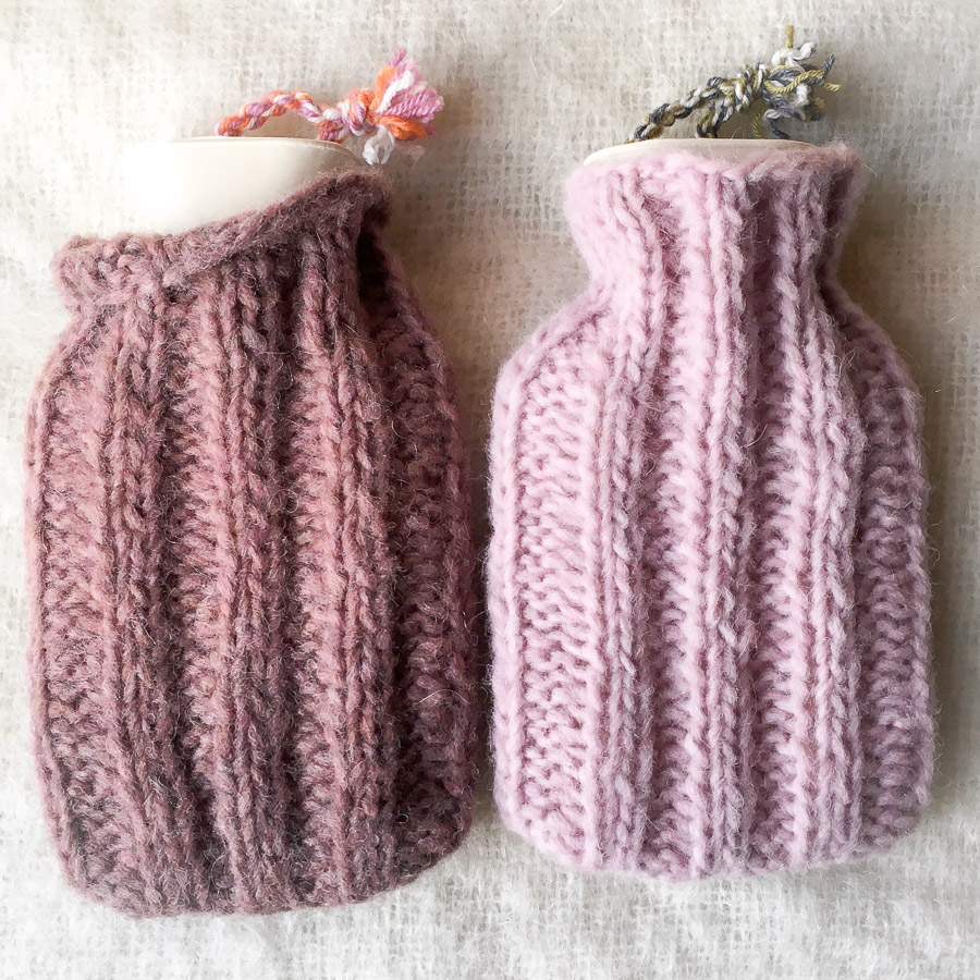 Mini Hot Water Bottle & Cover Dusky Pink