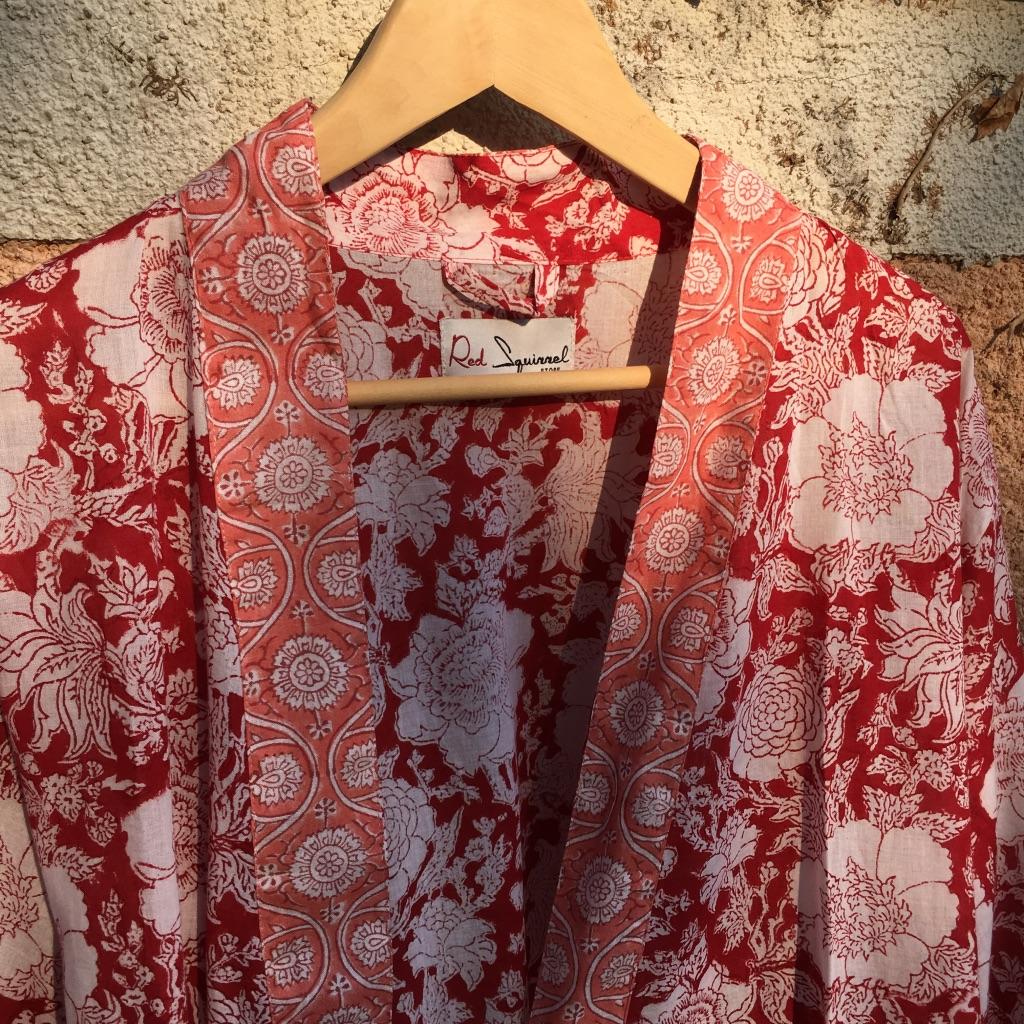 Kimono Robe Floral Red & White