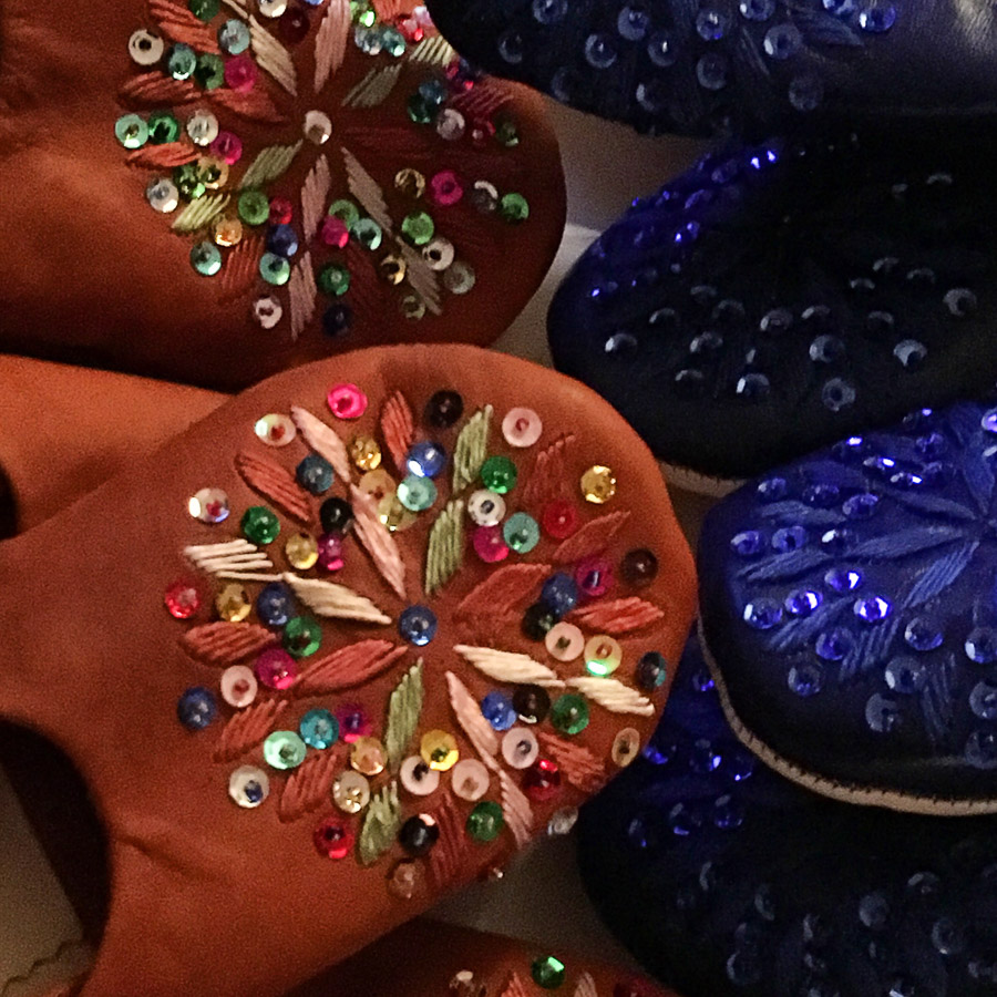 Babouche Slippers Embroidery & Sequins  - Terracotta Multi